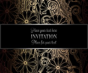 Ornate floral invitation card with luxury background vector 06