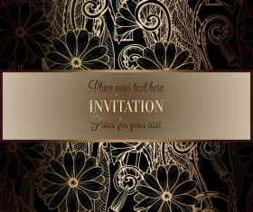 Ornate floral invitation card with luxury background vector 07