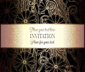 Ornate floral invitation card with luxury background vector 08