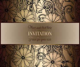 Ornate floral invitation card with luxury background vector 09