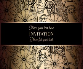 Ornate floral invitation card with luxury background vector 10