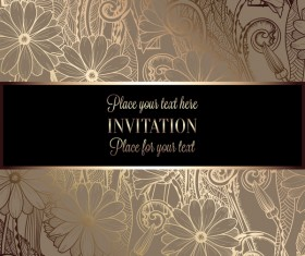 Ornate floral invitation card with luxury background vector 11
