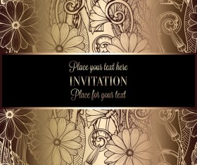 Ornate floral invitation card with luxury background vector 12