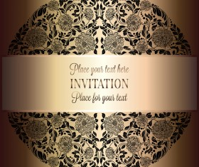 Ornate floral invitation card with luxury background vector 13