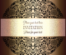 Ornate floral invitation card with luxury background vector 14