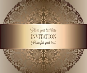 Ornate floral invitation card with luxury background vector 15