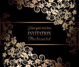 Ornate floral invitation card with luxury background vector 17