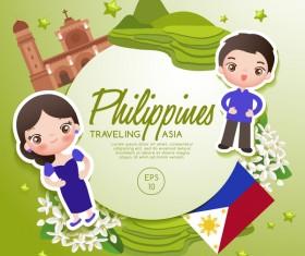 Philippines travel cartoon template vector