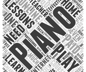 Piano play word cloud concept background vector