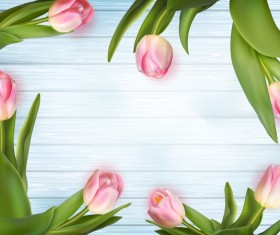 Pink tulips frame with wood background vector