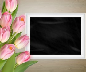 Pink tulips with photo frame vector