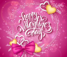 Pink valentine day background with romantic heart vector 01