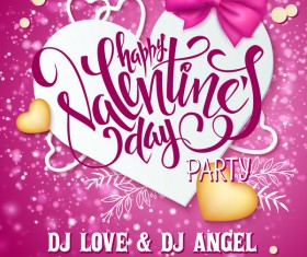 Pink valentine day background with romantic heart vector 02