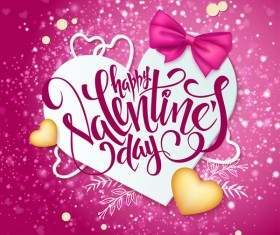 Pink valentine day background with romantic heart vector 04