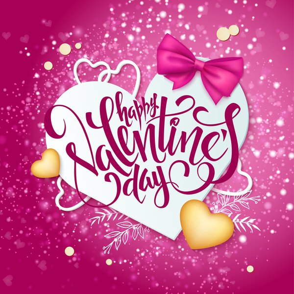 Pink valentine day background with romantic heart vector 04 ...