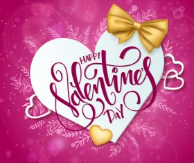 Pink valentine day background with romantic heart vector 05