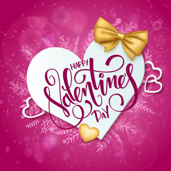 Pink valentine day background with romantic heart vector 05 ...