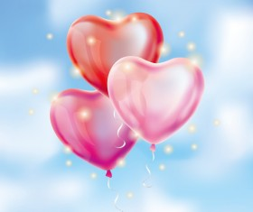 Pink with red heart balloon background vectors