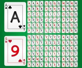 Playing card alphabet with numbers vector