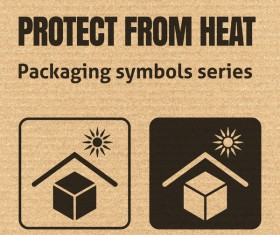 Protect from heat packaging icons series vector