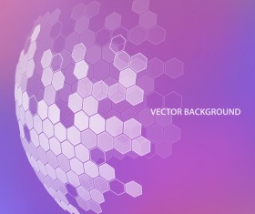 Purple background with hexagonal spherical vector 01