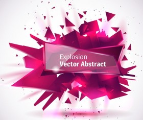Purple explosion backgrounds with transparent glass banner vector 01