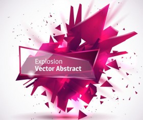 Purple explosion backgrounds with transparent glass banner vector 02