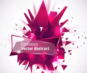 Purple explosion backgrounds with transparent glass banner vector 03