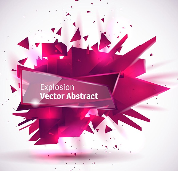 Purple explosion backgrounds with transparent glass banner vector 04