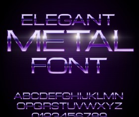 Purple metal alphabet with number shiny vector