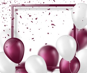 Purple with white balloon and frame background vector