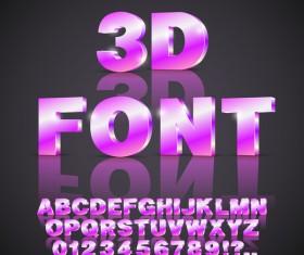 Purples 3D font gradient vector