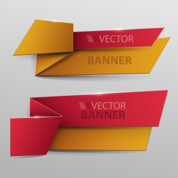 Recolored paper banners vectorRecolored paper banners vector