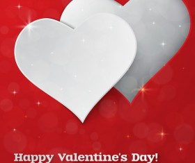 Red Valentine day background with white heart vector