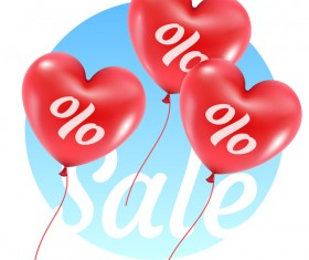 Red heart shape balloon with sale background vector