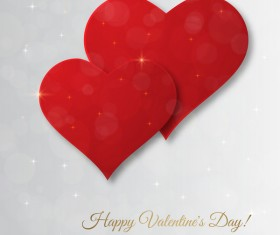 Red heart with gray valentine day card vector 01