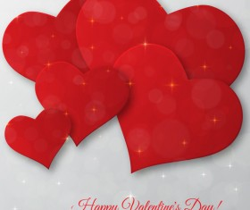 Red heart with gray valentine day card vector 02
