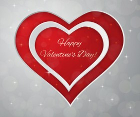 Red heart with gray valentine day card vector 03