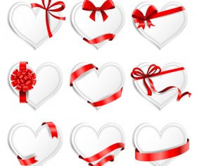 Red ribbon with heart cards vector set 01