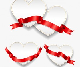 Red ribbon with heart cards vector set 02