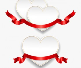 Red ribbon with heart cards vector set 05