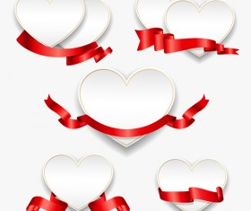 Red ribbon with heart cards vector set 06