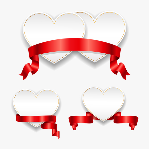 Red ribbon with heart cards vector set 07