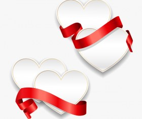 Red ribbon with heart cards vector set 08
