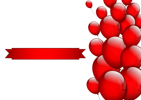 Red ribbon with red balloon vector illustration