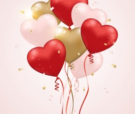 Red with pink and golden heart shape balloon background vector