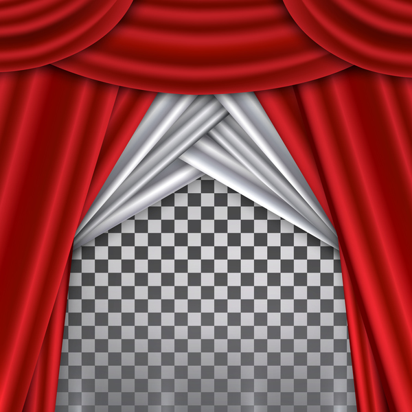 Red With White Curtains Background Illustration Vector 02