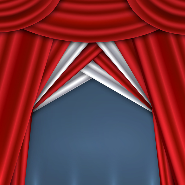 Red with white curtains background vector 01