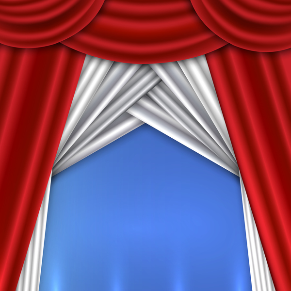 Red With White Curtains Background Vector 03
