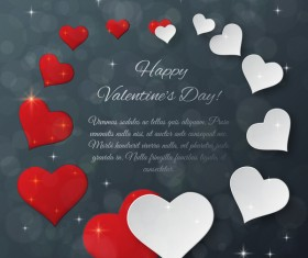 Red with white heart frame with dark valentines day card vector